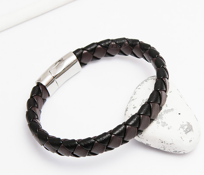 Monzo, Широкий мужской браслет из натуральной кожи (21 см)