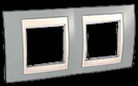 Рамка на 2 поста. Цвет Серый/Белый. Schneider electric Unica Хамелеон. MGU6.004.865