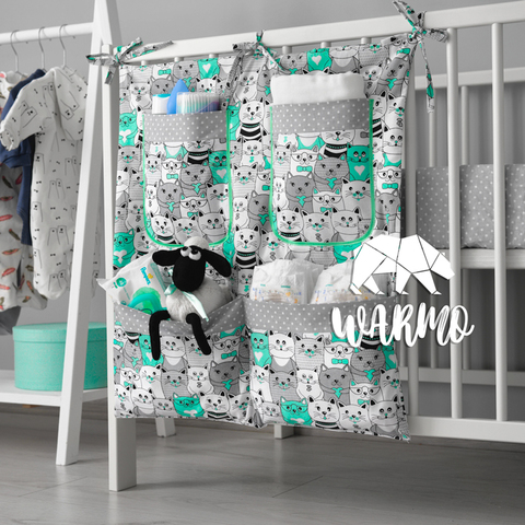 органайзер на ліжечко з м'ятними котиками фото