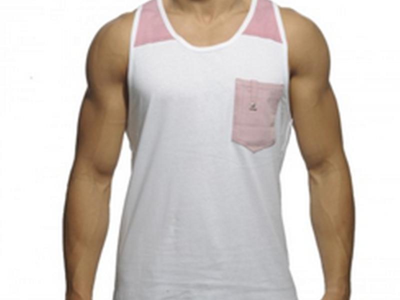 Мужская майка Es Белая с розовым ES4-M184