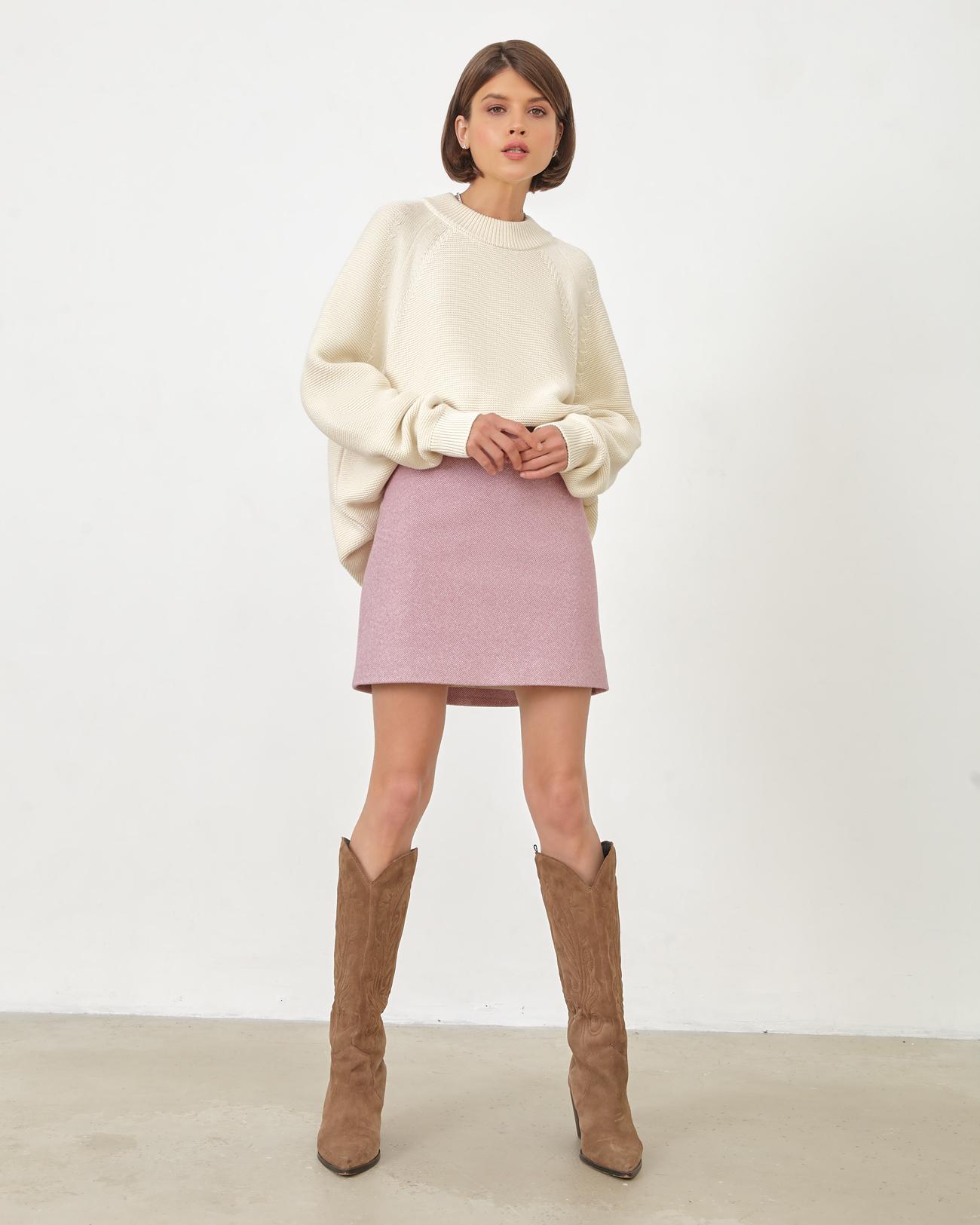 Юбка мини из шерсти розового цвета фото