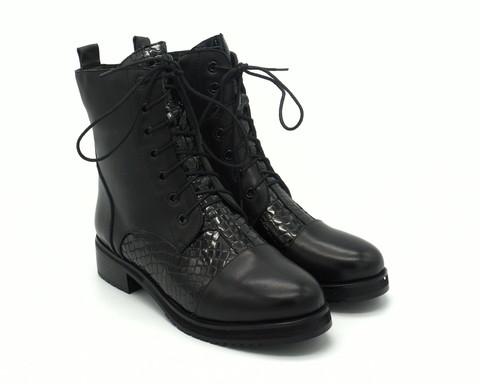 Черные ботинки из комбинированной кожи