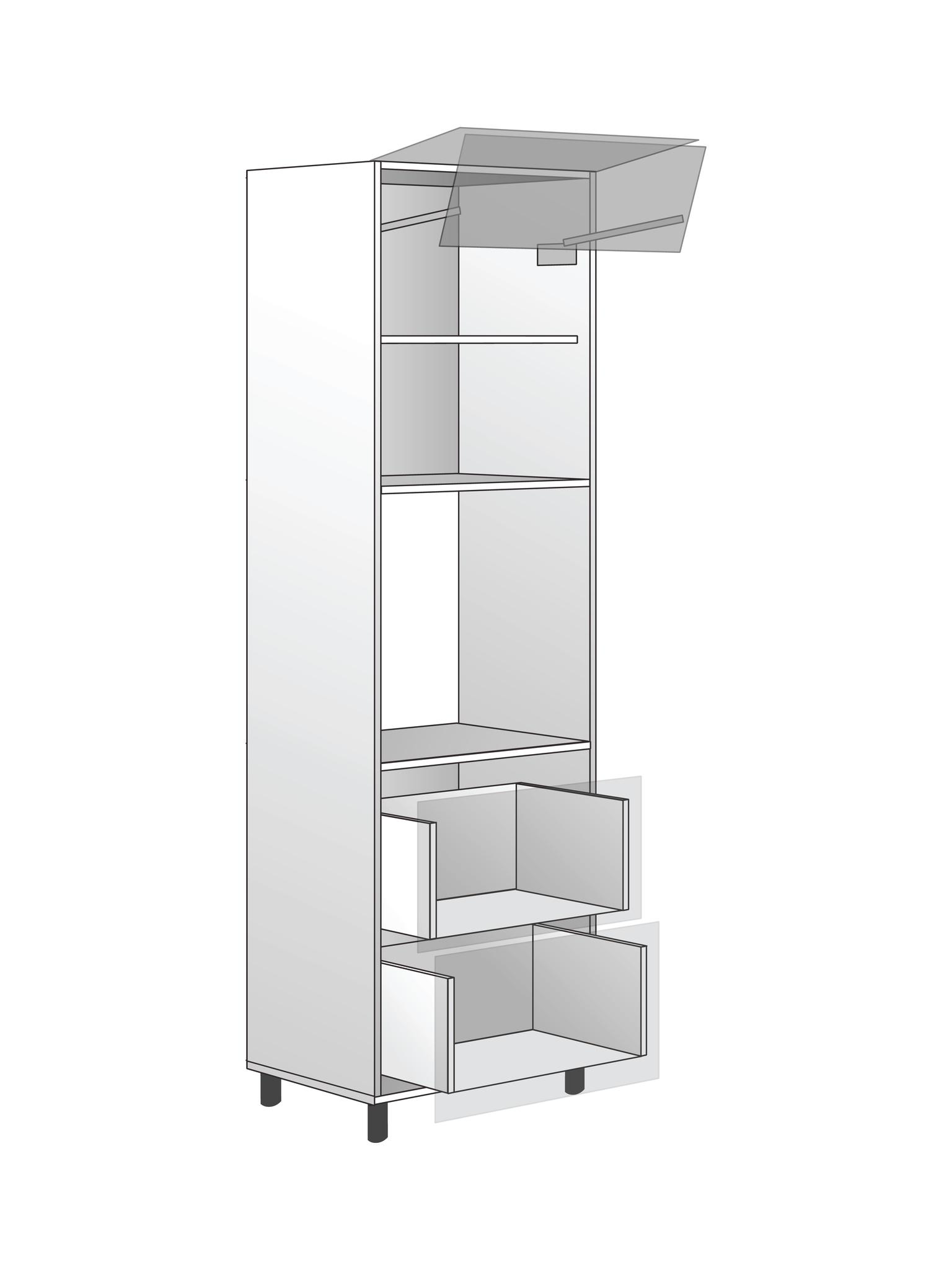 Напольный шкаф для духовки c подъемным механизмом и 2 ящиками, 2040х600 мм