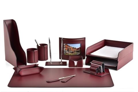 Набор настольный офисный 12 предметов из кожи, цвет бордо