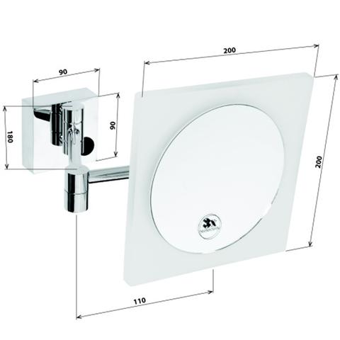 Косметическое зеркало настенное квадратное Bemeta 20x20 см. с LED подсветкой