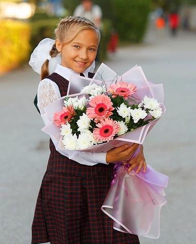 Букет с герберами и хризантемой #1848