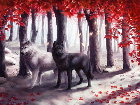 Алмазная Мозаика 40x50 Волки в красном лесу