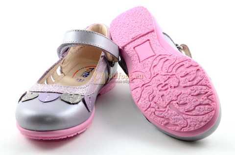 Туфли для девочек кожаные на липучке Тотто, цвет сиреневый, 10210B. Изображение 8 из 12.