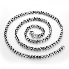 Стильная мужская чернёная цепочка из нержавеющей ювелирной медицинской хирургической стали 316L толщиной 4 мм длиной 60 см Steelman mn084