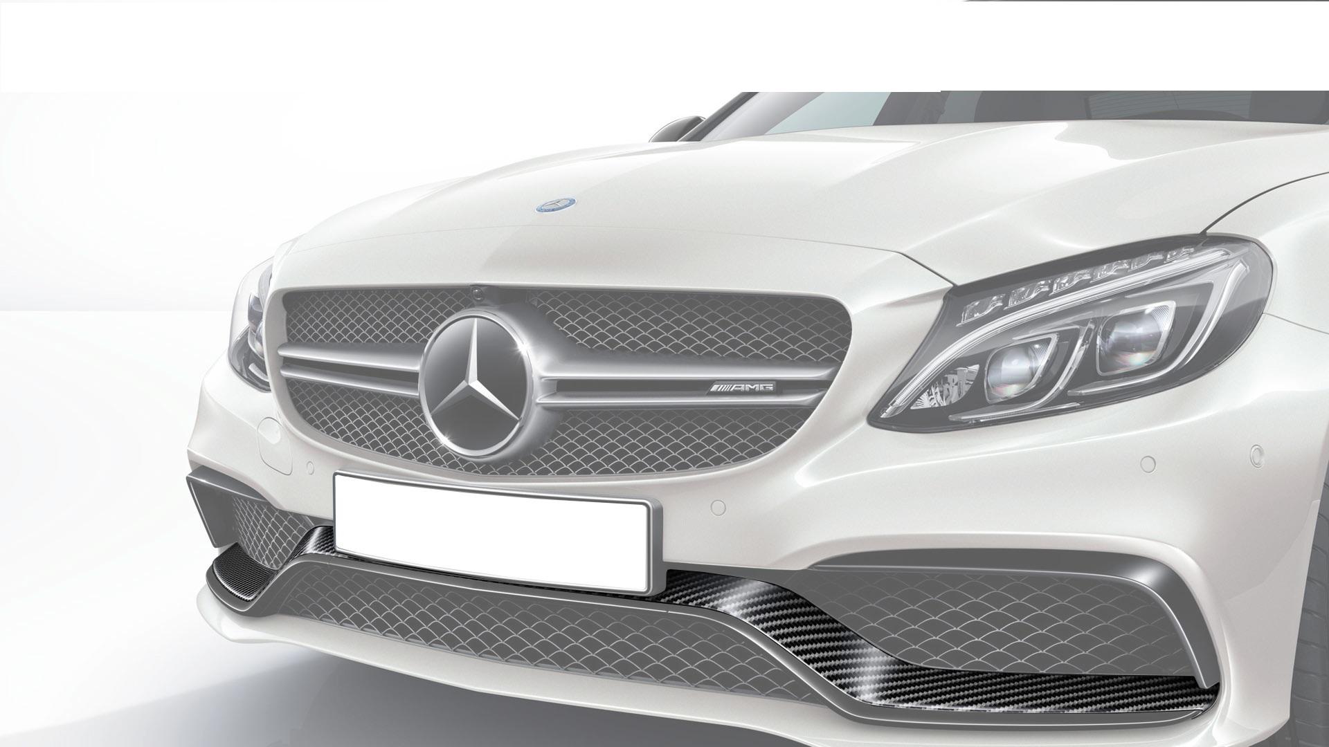 Карбоновый спойлер переднего бампера AMG Style для Mercedes С-class W205