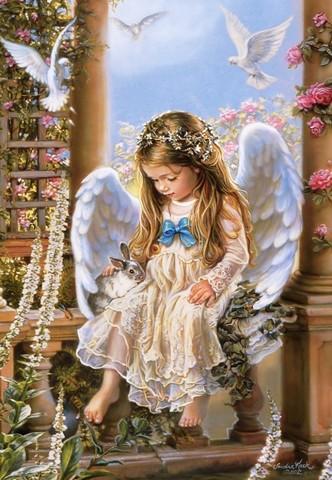 Картина раскраска по номерам 30x40 Ангелок с кроликом