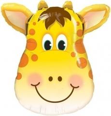 Шар (34''/86 см) Фигура, Большая голова, Милый Жираф, 1 шт.