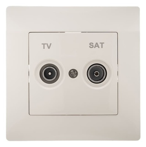 Розетка телевизионная TV+SAT с рамкой. Цвет Бежевый. Bravo GUSI Electric. С10TS1-003-СБ