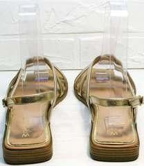 Золотые шлепанцы босоножки с маленьким каблуком женские Wollen M.20237D ZS Gold.