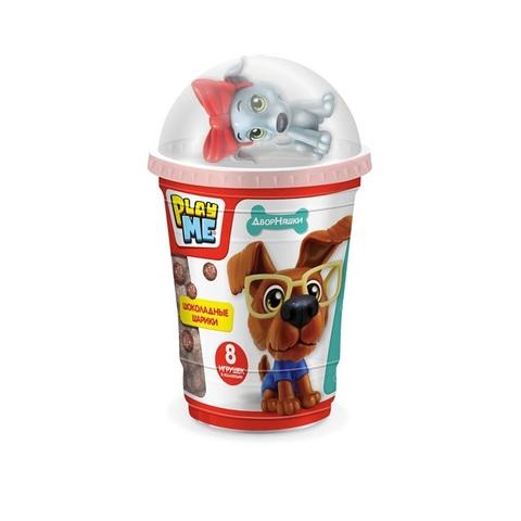 PLAY ME ДВОРНЯШКИ Шоколадные шарики с игрушкой  1кор*10бл*6шт, 50г.