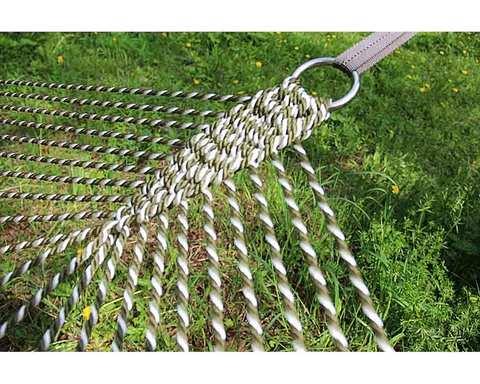 Гамак плетеный в две веревки зеленый с белым