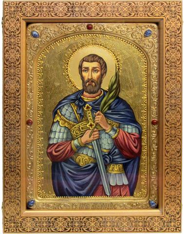 Большая Живописная икона Святой мученик Анатолий Никомидийский 42х29см на кипарисе в березовом киоте
