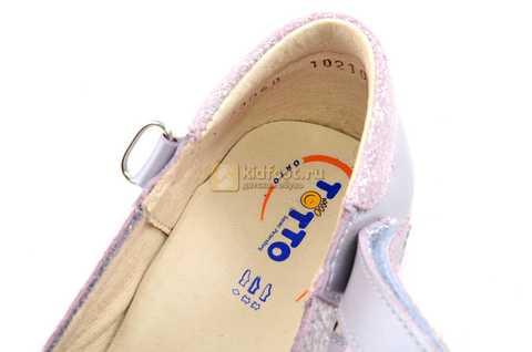 Туфли для девочек кожаные на липучке Тотто, цвет сиреневый, 10210B. Изображение 11 из 12.