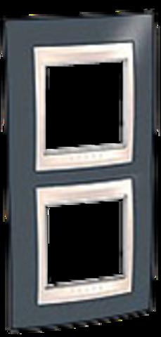 Рамка на 2 поста. Цвет вертикальная Серо-зеленый/белый. Schneider electric Unica Хамелеон. MGU6.004V.877