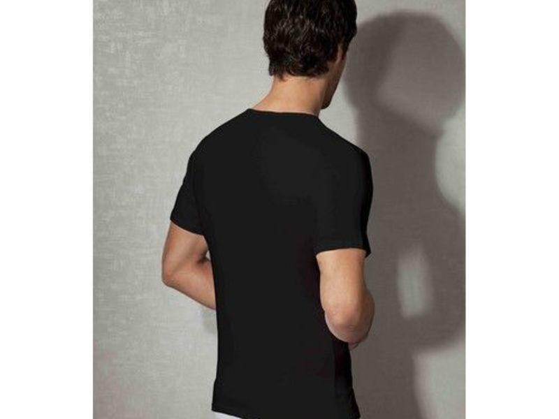 Мужская футболка черная с V-образным воротом из натурального хлопка Doreanse 2810