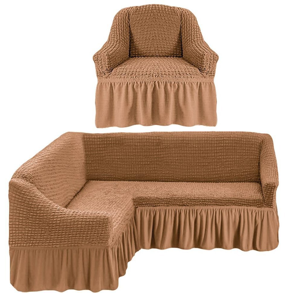 Чехол на угловой диван и кресло, бежевый