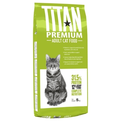 Titan Premium Cat Food сухой корм для взрослых кошек 15 кг