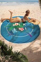полотенце пляжное круглое бирюзовое с листьями