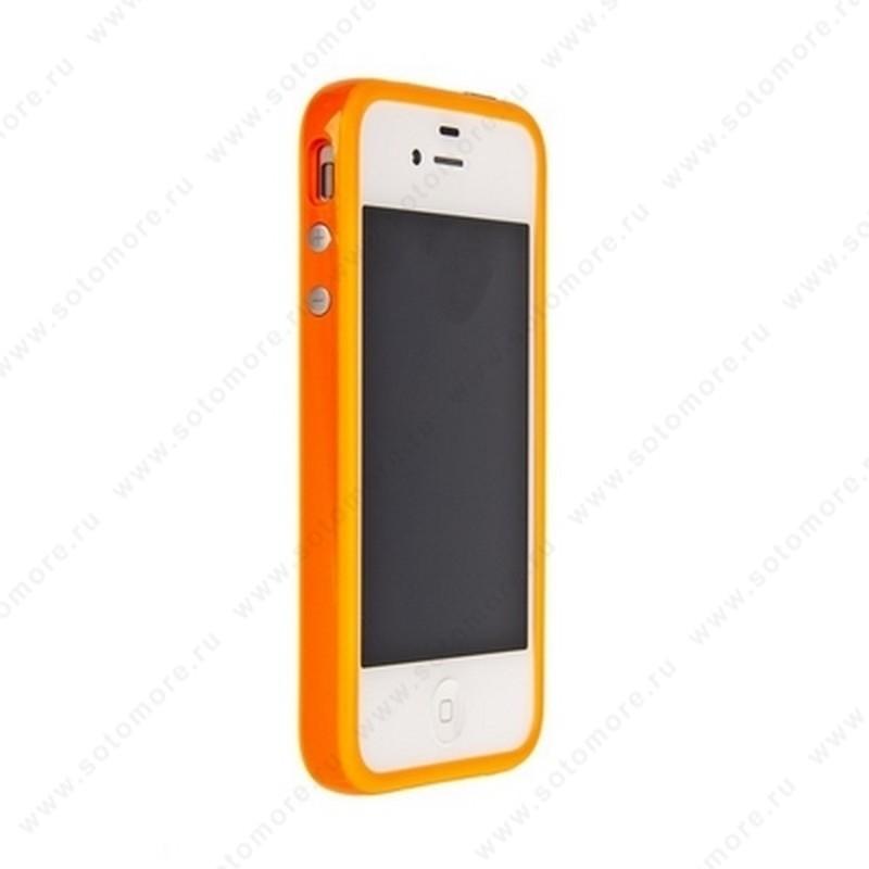 Бампер Apple для Apple iPhone 4s/ 4 Bumper, цветное яблоко на упаковке, оранжевый