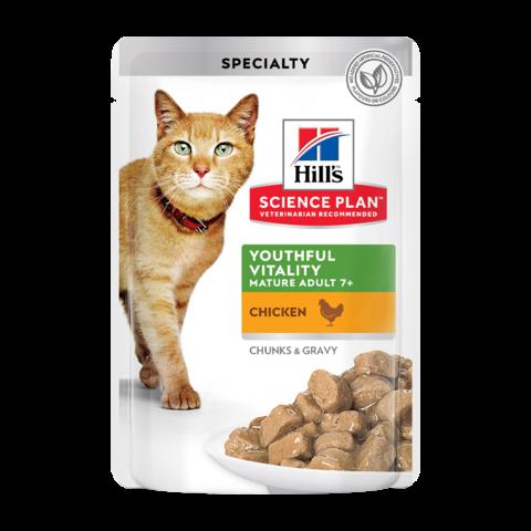 Hill's Science Plan Youthful Vitality Senior 7+ Консервы для пожилых кошек для поддержания активности и жизненной энергии с курицей (пауч)
