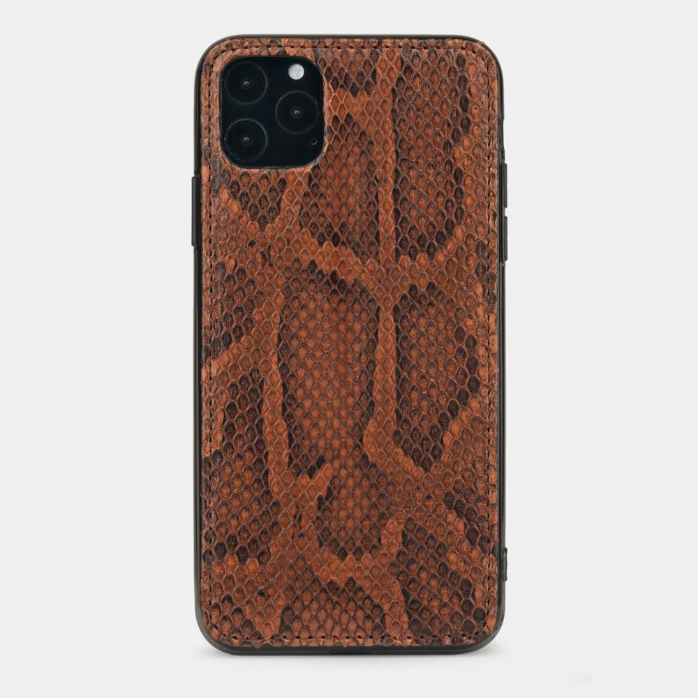 Чехол-накладка для iPhone 11 Pro из натуральной кожи питона, цвета коньяк
