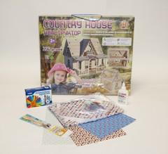 Кукольный Домик Country house с набором для изготовления штор и обоями