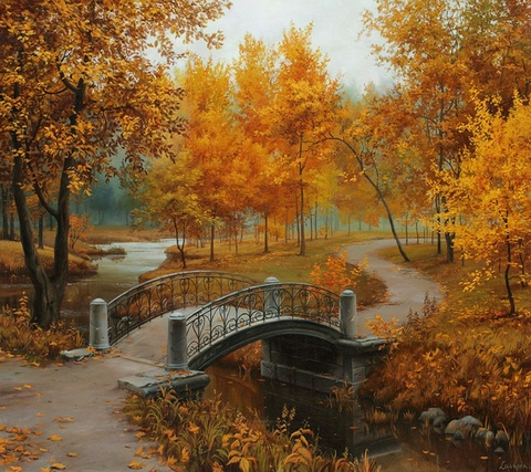 Картина раскраска по номерам 30x40 Мост в осеннем парке