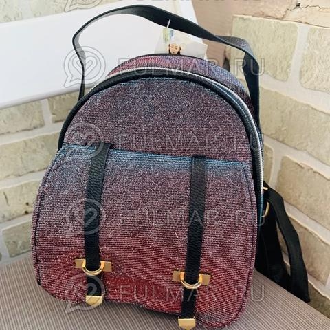 Рюкзак сияющий переливающийся Серый-Бирюзовый-Рыжий маленький