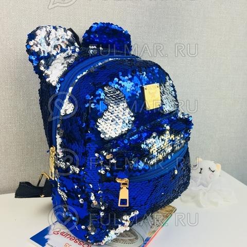 Рюкзак с пайетками и Ушами меняет цвет Синий-Серебристый Пупс