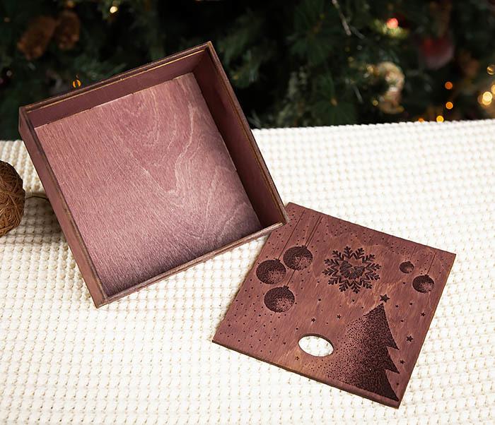BOX203-3 Деревянная подарочная коробка фиолетового цвета (17*17*7 см) фото 05