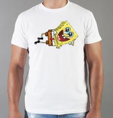 Футболка с принтом мультфильма Губка Боб Квадратные Штаны (SpongeBob SquarePants) белая 005