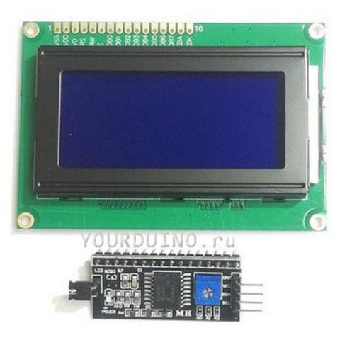 Дисплей LCD1604 (синий) + I2C Конвертер