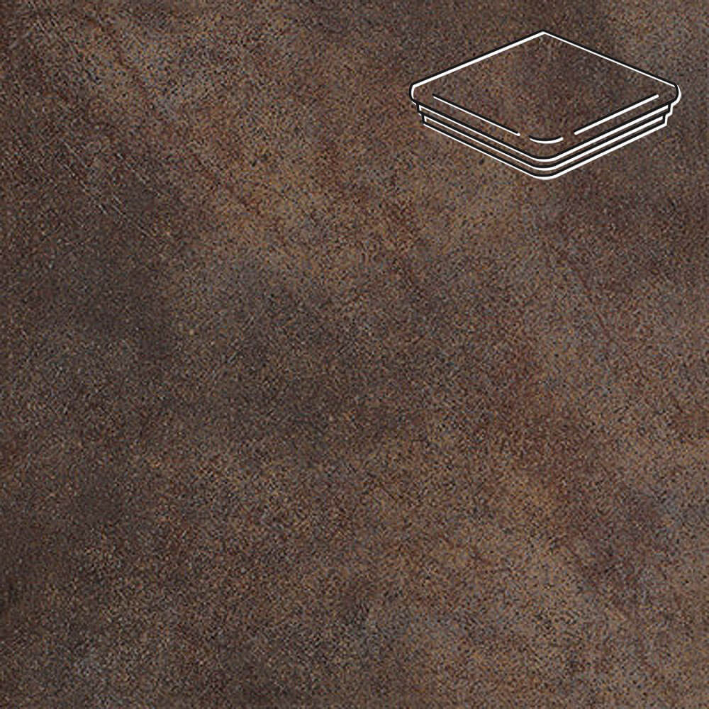 Interbau - Nature Art, Lava schwarz/Серо-коричневый 320x320x9,5, цвет 118 - Ступень флорентийская угловая