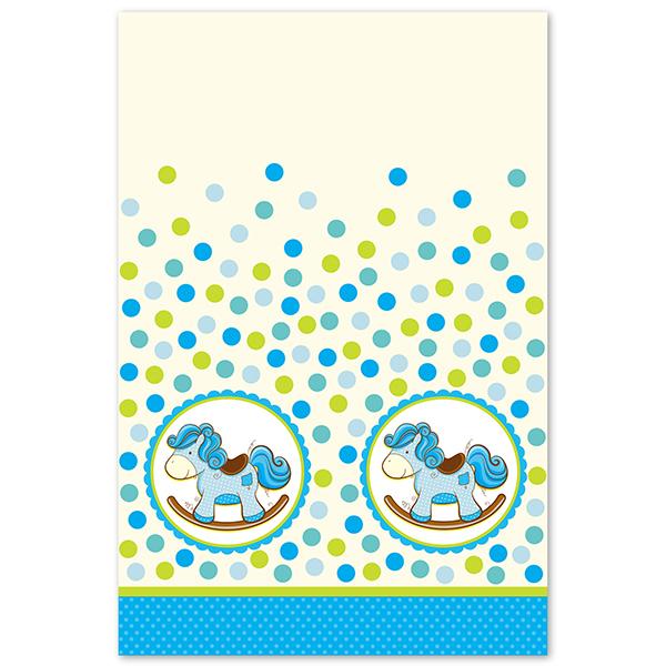 Скатерть полиэтиленовая Лошадка Малыш голубая 140см X 180см