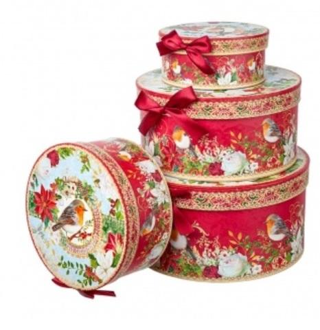 Набор коробок подарочных круглых Птица из 4шт, размер: D23хH10см