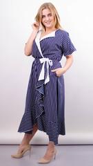 Агата. Легкое платье для больших размеров. Полоса.