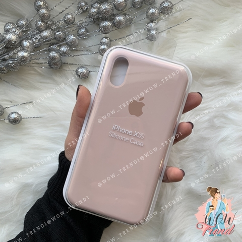 Чехол iPhone X/XS Silicone Case /pink sand/ розовый песок 1:1