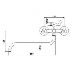 Смеситель KAISER Delta 11090 для ванны схема
