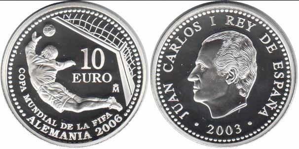 10 евро Чемпионат мира по футболу Германия 2006 г. Вратарь Испания 2003 г. Proof