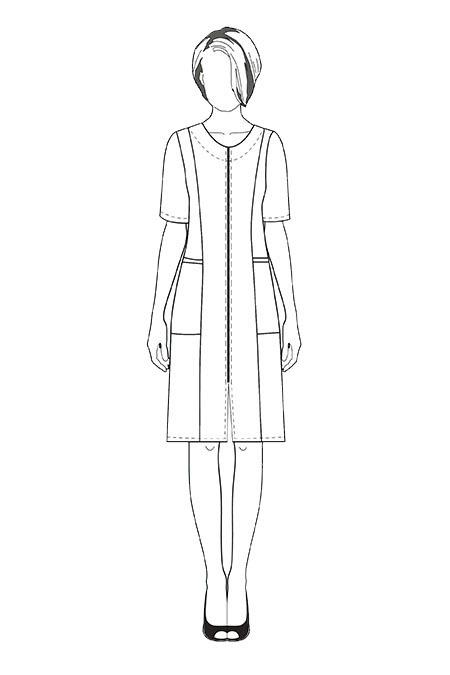Выкройка халата с рельефами от плеча тех рисунок