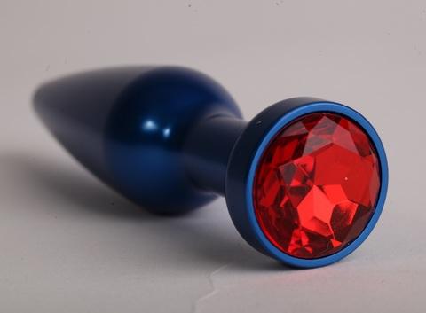 Анальная пробка металл 11,2х2,9см  синяя с красным 47197-1-MM