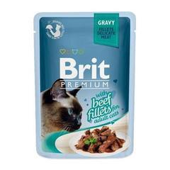 Пауч для кошек, Brit Premium Gravy, кусочки филе говядины в соусе