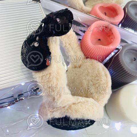 Ободок на уши Плюшевый зимний складной детский с бантом и двусторонними пайетками (цвет: Молочный)
