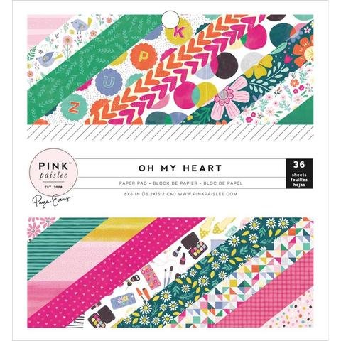 Набор односторонней бумаги 15х15см - коллекция Oh My Heart- Pink Paislee -36л.