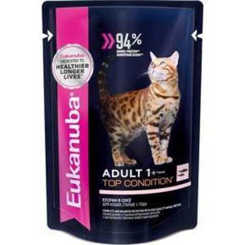 Eukanuba Cat пауч для взрослых кошек (с лососем в соусе) 85 г